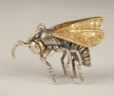 China 925 Silver Gilded Hand Carving Bee Figurines Statue Pendant Gift Collec