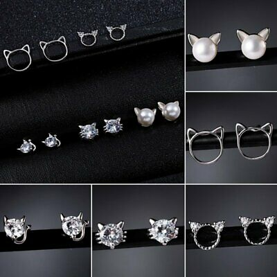 Women Cat Zircon Pearl Animal Earrings Rhinestone Women Hollow Ear Stud Wedding