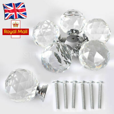 4pcs Door Knobs Handles Clear Crystal Glass Cupboard Drawer Cabinet 30mm x 40mm