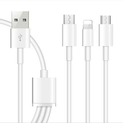 For iPhone Samsung HTC LG 3 in 1 8 Pins Type-C Micro USB Port Charger Cable US