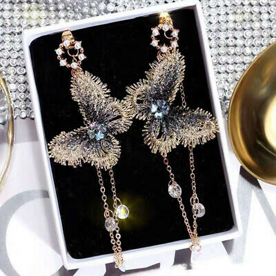Fashion Boho Embroidery Butterfly Crystal Long Tassel Drop Dangle Earrings