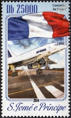 Air France CONCORDE Airliner Aircraft / Flag #1 Stamp (2014 St Thomas & Prince)