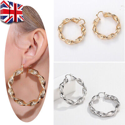 HUGE 18ct YELLOW BIG GOLD/SILVER FILLED PLATED LARGE TWIST HOOP EARRINGS 60mm
