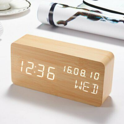 Wooden LED Alarm Clock, Electronic Digital Desk Clocks for Home
