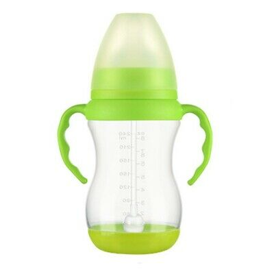 240/320ml Baby Milk Feeding Bottle Infant Drinking Water Straw Cup with Handle