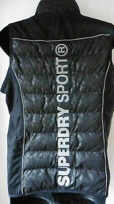 Superdry Sports Black Quilted Gilet Size L Zip Front Excellent Condition R24