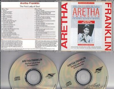 ARETHA FRANKLIN The First Lady Of Soul 30 GREATEST HITS 1985 2-CD NO BARCODE
