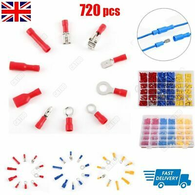 720Pcs Male Female Terminals Spade Insulated Electrical Wire Crimp Connectors
