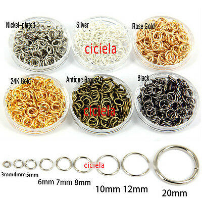50-500 PCS Split Jump Rings Open Connector Jewelry Finding 4/5/6/8/10/12/14/20MM
