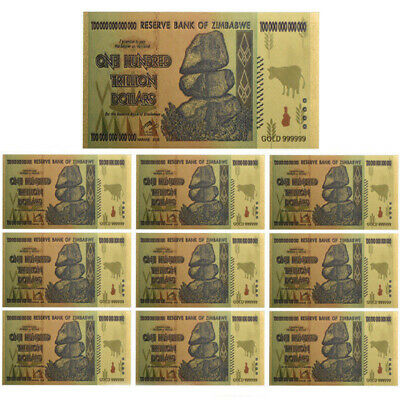 10pcs Zimbabwe 100 Trillion Dollars Banknote Gold Foil Bill World Money Collect
