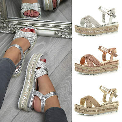 Womens ladies cross strap sparkly platform espadrilles flatform sandals size