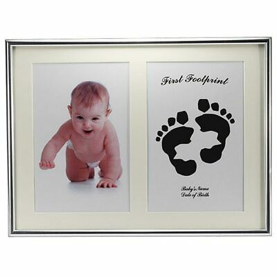 Silver baby hand/footprint frame kit, comes with ink pad