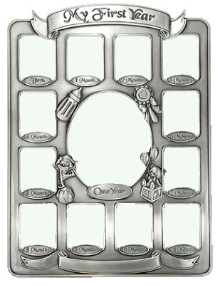 Baby's first year pewter collage photo frame