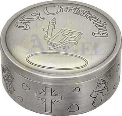 Round pewter my christening keepsake trinket box with engravable space