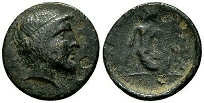 FORVM Kierion Thessaly AE15 Nymph Kneeling Tossing Astragaloi SCARCE
