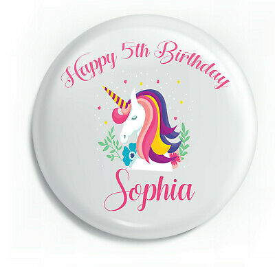 Personalised Unicorn Pink Swirly Party Birthday Metal Pin Badge