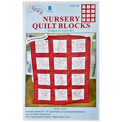"Jack Dempsey Stamped White Nursery Quilt Blocks 9""x9"" 12/pkg-baby Bears"