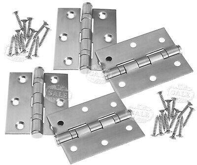 "2 Pair 3"" Stainless Steel Double Ball Bearing Butt Door Hinge Fire Rated FD30/60"