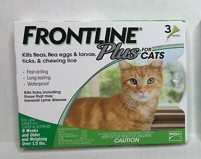 Frontline Plus for Cats 8 Weeks and Older 3 Month Supply Flea & Tick Treatment