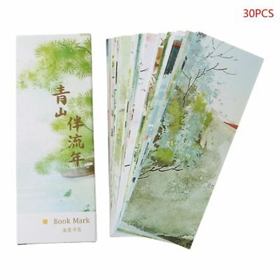 30pcs Chinese Style Vintage Painting Cards Paper Bookmarks Retro Boxed Bookmark