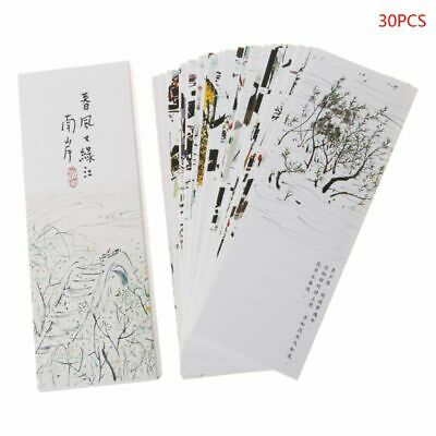 30pcs Chinese Style Painting Card Paper Bookmarks Retro Vintage Boxed Bookmark