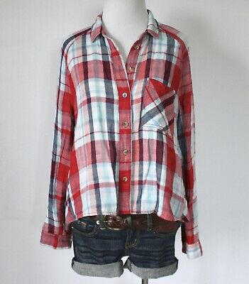62e71ce82d BDG Urban Outfitters Plaid Checkered Flannel Swing Button Up Shirt Top  Blouse M