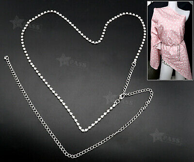 Fashion 1Row Diamante Rhinestone Ladies Belt Waist Chain Charm Belt in Silver