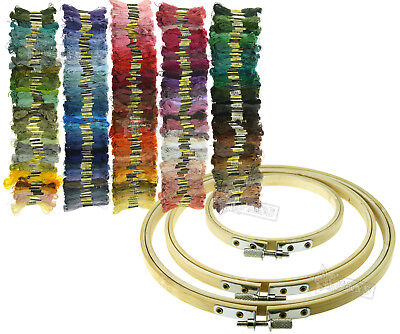 Cross Stitch Accessories Bamboo Hoops/Different Colors Embroidery Thread Floss