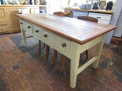 Rare V Large Antique Original Kitchen / Preperation Table 3 Draws Victorian