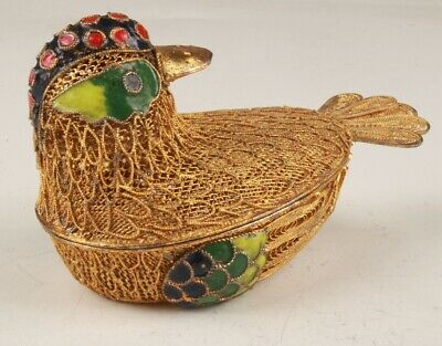 Unique Chinese Cloisonne Hand Carving Cute Bird Box Gift Collection
