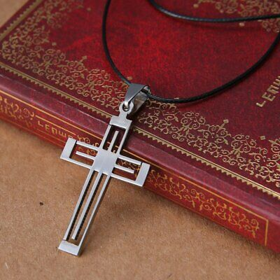 Fashion Cross Silver Stainless Steel Women Men's Hollow Pendant Necklace Chain