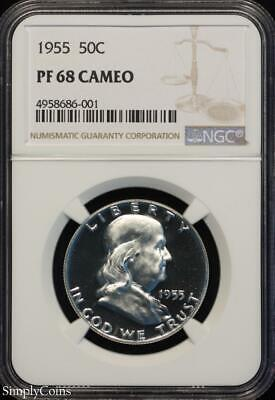 1955 Franklin Silver Half Dollar ~ NGC PF68 CAMEO ~ FROSTY CAM PROOF! R8-686-001