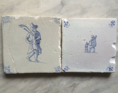 Antique 2 X Dutch Delft People Playing Bagpipe Circa 1650