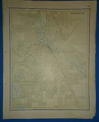 Vintage 1895 MINNEAPOLIS, MINNESOTA Map Old Antique Original Atlas Map