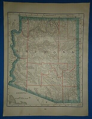 Vintage 1895 ARIZONA TERRITORY Map Old Antique Original Atlas Map 41519