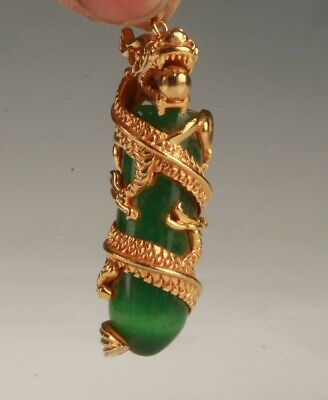 Precious Chinese Gold Plated Jade Handmade Carving Dragon Pendant Collection