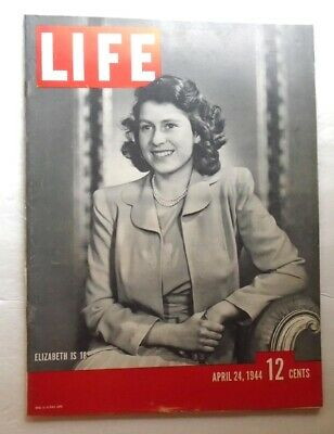 LIFE MAGAZINE April 24 1944 Queen Elizabeth at 18 NEGRO ENSIGNS WWII VINTAGE ADS