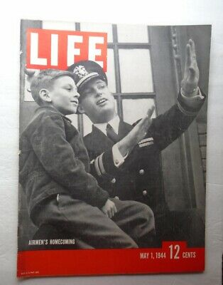 LIFE MAGAZINE May 1 1944 Airmen Homecoming ANZIO War WWII Vintage ADS