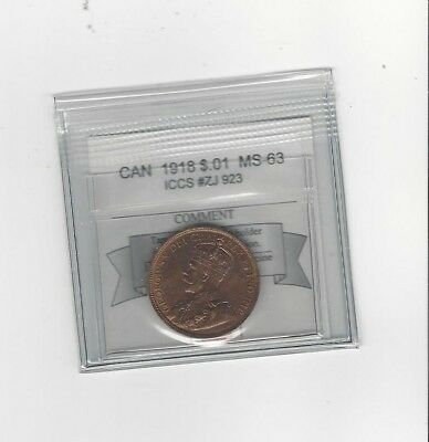 **1918** Coin Mart Graded Canadian, Large One Cent**MS-63** ICCS #ZI 923
