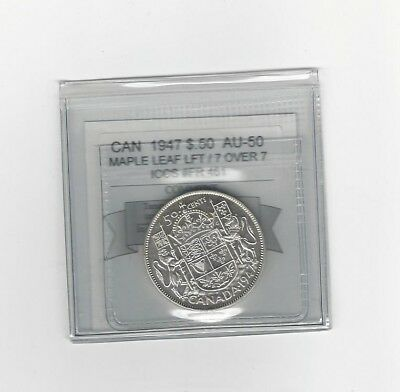 **1947 ML** Coin Mart Graded Canadian Silver 50 Cent, **AU-50**ICCS # FR 461