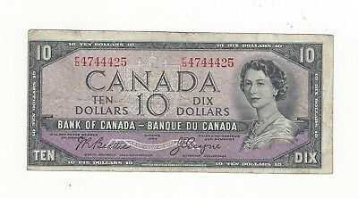 **1954 Devil's Face**Canada $10 Note, Beattie/Coyne BC-32b, Ser# FD 4744425