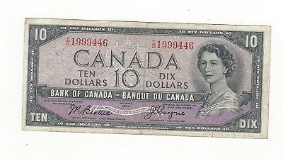 **1954 Devil's Face**Canada $10 Note, Beattie/Coyne BC-32b, Ser# ID 1999446