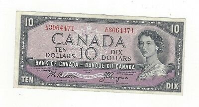 **1954 Devil's Face**Canada $10 Note, Beattie/Coyne BC-32b, Ser# ID 3064471