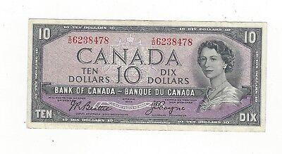 **1954 Devil's Face**Canada $10 Note, Beattie/Coyne BC-32b, Ser# ID 6238478