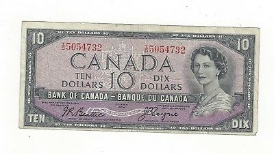 **1954 Devil's Face**Canada $10 Note, Beattie/Coyne BC-32b, Ser# ID 5054732