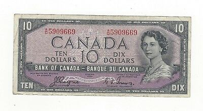 **1954 Devil's Face**Canada $10 Note, Coyne/Towers BC-32a, Ser# AD 5909669