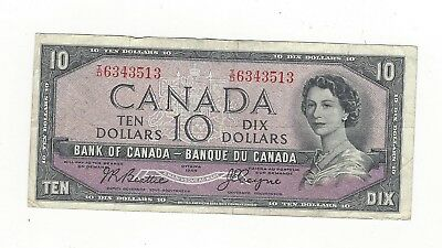 **1954 Devil's Face**Canada $10 Note, Beattie/Coyne BC-32b, Ser# ID 6343513