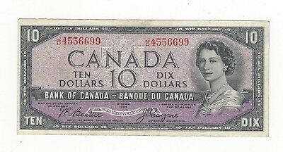 **1954 Devil's Face**Canada $10 Note, Beattie/Coyne BC-32b, Ser# JD 4556699