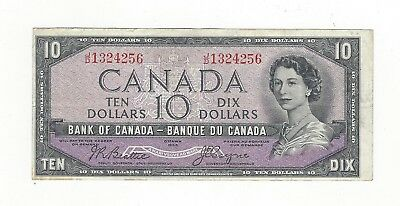 **1954 Devil's Face**Canada $10 Note, Beattie/Coyne BC-32b, Ser# JD 1324256