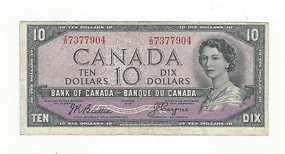 **1954 Devil's Face**Canada $10 Note, Beattie/Coyne BC-32b, Ser# ID 7377904